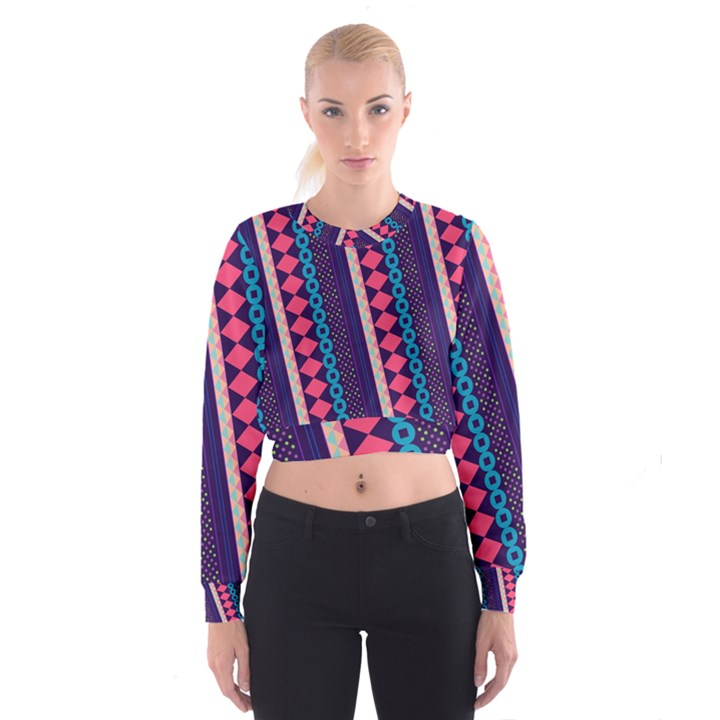 Purple and Pink Retro Geometric Pattern Women s Cropped Sweatshirt