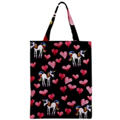 Retro Unicorns Heart Zipper Classic Tote Bag