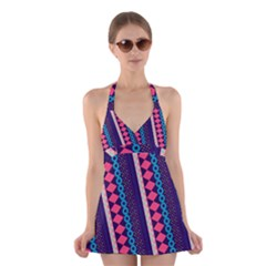 Purple and Pink Retro Geometric Pattern Halter Swimsuit Dress