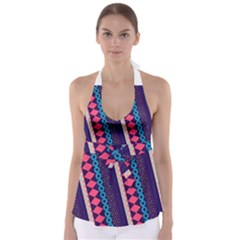 Purple and Pink Retro Geometric Pattern Babydoll Tankini Top