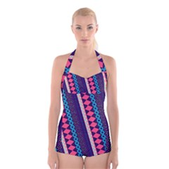 Purple And Pink Retro Geometric Pattern Boyleg Halter Swimsuit