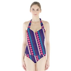 Purple And Pink Retro Geometric Pattern Halter Swimsuit