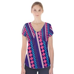 Purple And Pink Retro Geometric Pattern Short Sleeve Front Detail Top