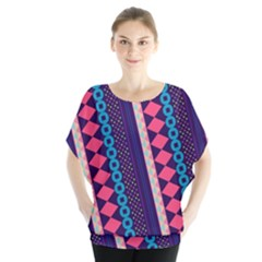 Purple and Pink Retro Geometric Pattern Batwing Chiffon Blouse
