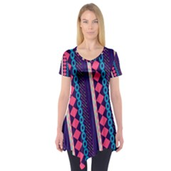 Purple and Pink Retro Geometric Pattern Short Sleeve Tunic