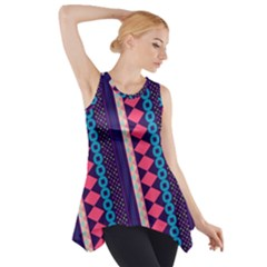 Purple And Pink Retro Geometric Pattern Side Drop Tank Tunic