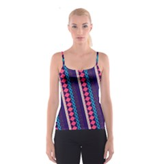 Purple And Pink Retro Geometric Pattern Spaghetti Strap Top