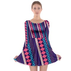 Purple and Pink Retro Geometric Pattern Long Sleeve Skater Dress