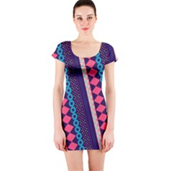 Purple and Pink Retro Geometric Pattern Short Sleeve Bodycon Dress