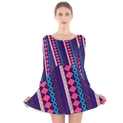 Purple and Pink Retro Geometric Pattern Long Sleeve Velvet Skater Dress