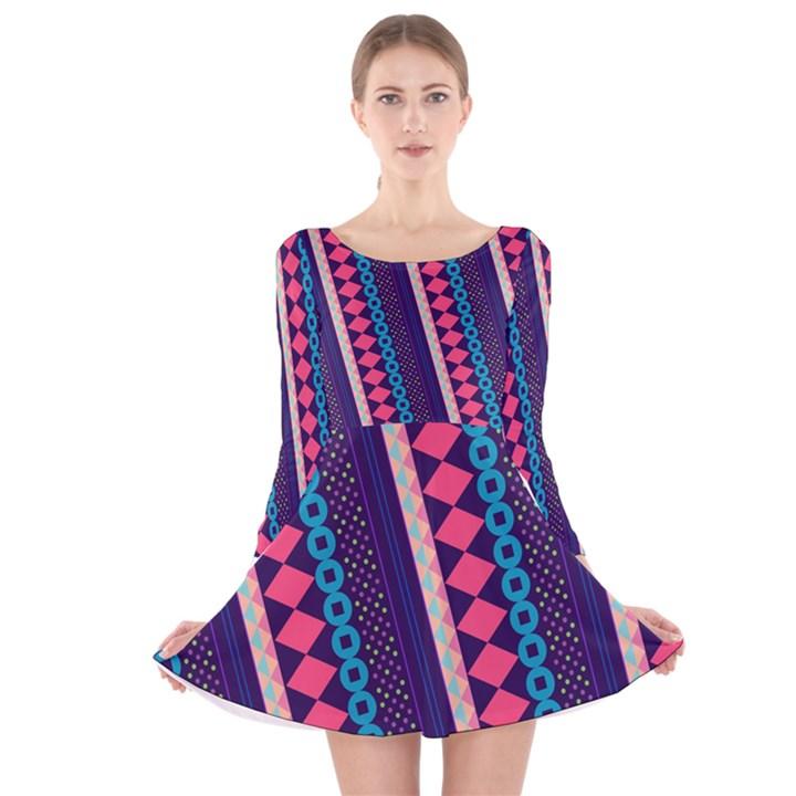 Purple and Pink Retro Geometric Pattern Long Sleeve Velvet Skater Dress