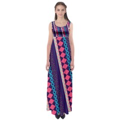 Purple And Pink Retro Geometric Pattern Empire Waist Maxi Dress