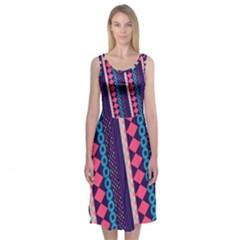 Purple and Pink Retro Geometric Pattern Midi Sleeveless Dress