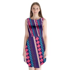 Purple And Pink Retro Geometric Pattern Sleeveless Chiffon Dress