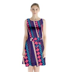 Purple and Pink Retro Geometric Pattern Sleeveless Chiffon Waist Tie Dress