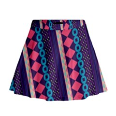 Purple and Pink Retro Geometric Pattern Mini Flare Skirt