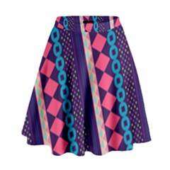 Purple And Pink Retro Geometric Pattern High Waist Skirt