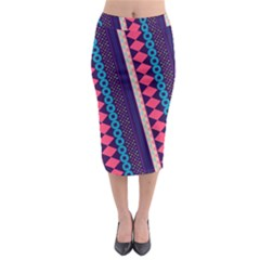 Purple and Pink Retro Geometric Pattern Midi Pencil Skirt