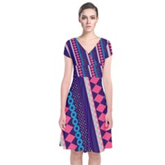 Purple and Pink Retro Geometric Pattern Short Sleeve Front Wrap Dress