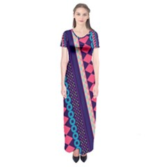 Purple and Pink Retro Geometric Pattern Short Sleeve Maxi Dress
