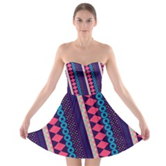 Purple and Pink Retro Geometric Pattern Strapless Bra Top Dress
