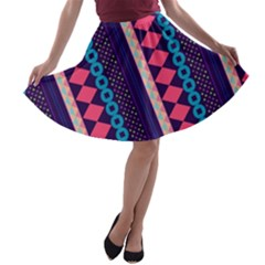 Purple and Pink Retro Geometric Pattern A-line Skater Skirt