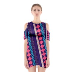 Purple and Pink Retro Geometric Pattern Women s Cutout Shoulder One Piece
