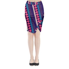 Purple And Pink Retro Geometric Pattern Midi Wrap Pencil Skirt