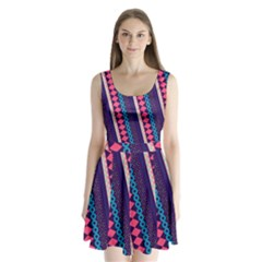 Purple and Pink Retro Geometric Pattern Split Back Mini Dress