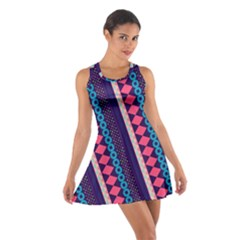 Purple And Pink Retro Geometric Pattern Cotton Racerback Dress