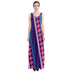 Purple And Pink Retro Geometric Pattern Sleeveless Maxi Dress