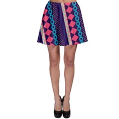 Purple And Pink Retro Geometric Pattern Skater Skirt