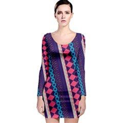 Purple And Pink Retro Geometric Pattern Long Sleeve Bodycon Dress