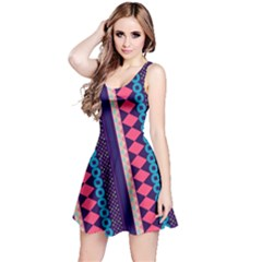 Purple And Pink Retro Geometric Pattern Reversible Sleeveless Dress