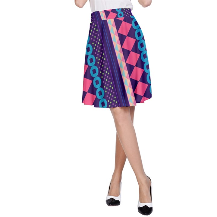 Purple and Pink Retro Geometric Pattern A-Line Skirt