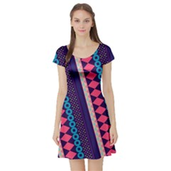 Purple And Pink Retro Geometric Pattern Short Sleeve Skater Dress