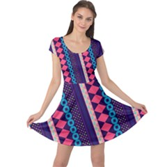 Purple And Pink Retro Geometric Pattern Cap Sleeve Dress