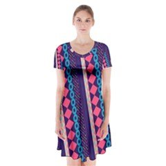 Purple and Pink Retro Geometric Pattern Short Sleeve V-neck Flare Dress