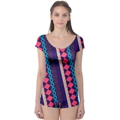 Purple and Pink Retro Geometric Pattern Boyleg Leotard