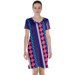 Purple And Pink Retro Geometric Pattern Short Sleeve Nightdress