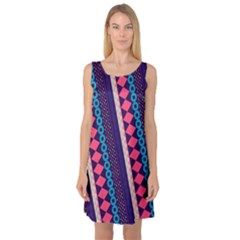 Purple And Pink Retro Geometric Pattern Sleeveless Satin Nightdress