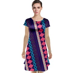 Purple And Pink Retro Geometric Pattern Cap Sleeve Nightdress