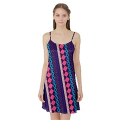 Purple And Pink Retro Geometric Pattern Satin Night Slip