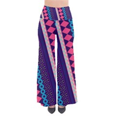 Purple And Pink Retro Geometric Pattern Women s Chic Palazzo Pants