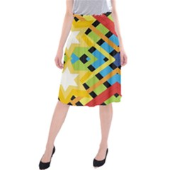 Starette Monica Bold Vivid Color Flash Midi Beach Skirt