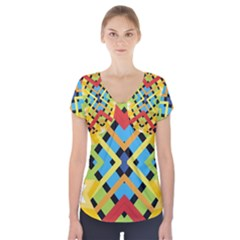 Starette Monica Bold Vivid Color Flash Short Sleeve Front Detail Top