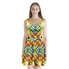 Starette Monica Bold Vivid Color Flash Split Back Mini Dress