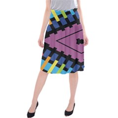 Starette Oleana Purple Blue Yellow Midi Beach Skirt