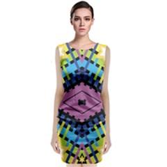 Starette Oleana Purple Blue Yellow Classic Sleeveless Midi Dress
