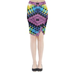 Starette Oleana Purple Blue Yellow Midi Wrap Pencil Skirt